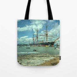 HMS Warrior at Portsmouth Harbour Tote Bag