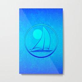 Ocean Blue Sailboat Metal Print