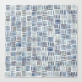 Indigo Crosshatch Pattern Canvas Print
