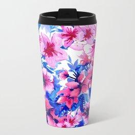 Floral Print Tropical Magenta Metal Travel Mug