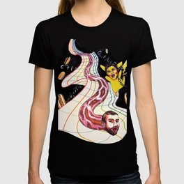 Snake-man and friend in hyper-dimensional curved spacetime T-shirt