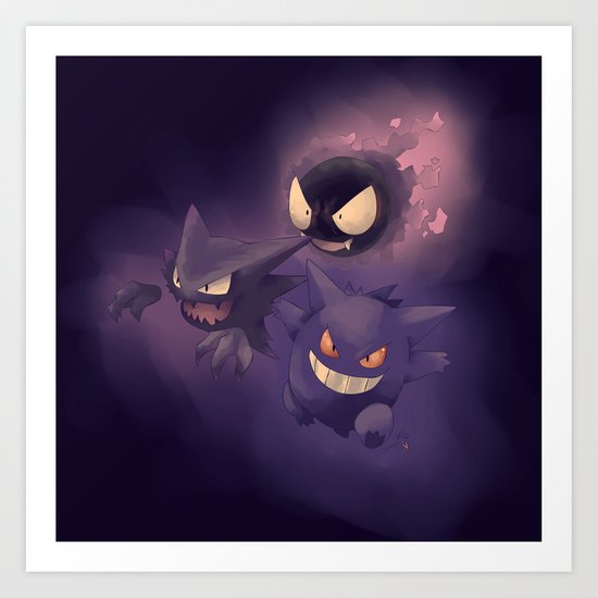 GHOSTS! - Pokémon Art Print