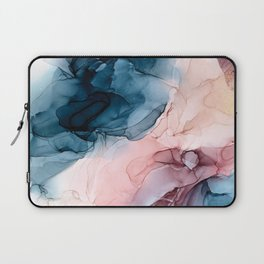 Pastel Plum, Deep Blue, Blush and Gold Abstract Painting Laptop Sleeve