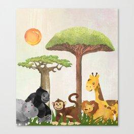Watercolor Safari Animals Under Exotic Baobab Tree Canvas Print