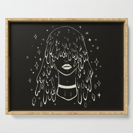Melting Hair Space Girl Serving Tray