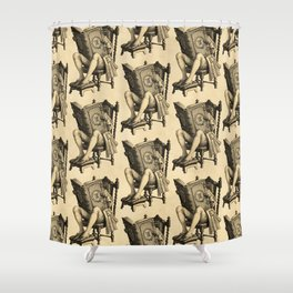 Ex Libris 'The Inveterate Reader' Shower Curtain