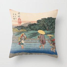 Fujieda by Hiroshige, Japanese Ukiyo-e Woodblock Print Throw Pillow