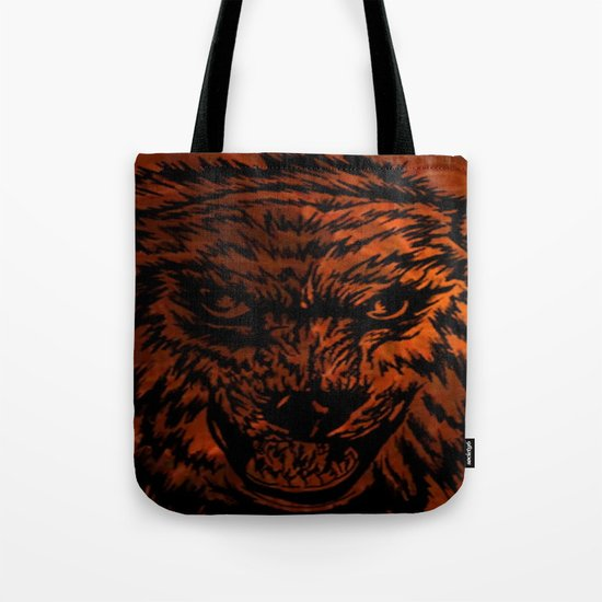 angry wolf fire Tote Bag