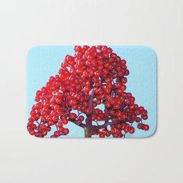 Rowan Berry Branch Top is Red on  Blue Nature Bath Mat