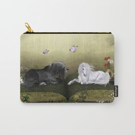 Wonderful white unicorn with black horse Carry-All Pouch