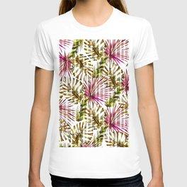 Tropical pink purple sunshine yellow palm tree stripes T-shirt