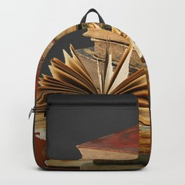 DECORATIVE  ANTIQUE LEDGERS, LIBRARY BOOKS art Backpack