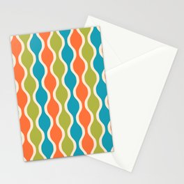 Classic Retro Ogee Pattern 841 Orange Green and Turquoise Stationery Cards