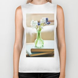 Blue and white flowers in green vase Biker Tank