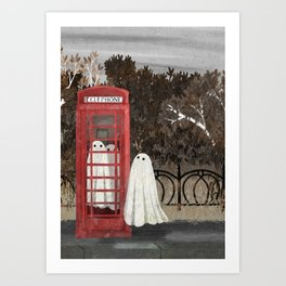 There Are Ghosts in the Phone Box Again... Art Print