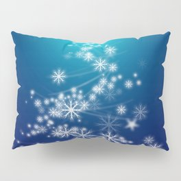 Whimsical Glowing Christmas Tree with Snowflakes in Blue Bokeh Pillow Sham