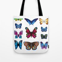 butterflies Tote Bags featuring Butterflies by Katerina Izotova Art Lab