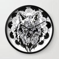 bad wolf Wall Clocks featuring Bad Wolf by Carina Maitch