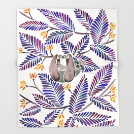 Happy Sloth – Tropical Indigo Leaves Throw Blanket