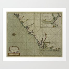 Vintage Map of The Carolinas (1702) Art Print