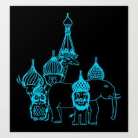 moscow Art Prints featuring Moscow by OneOneTwo