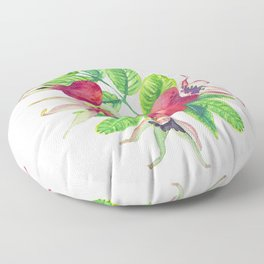 dog-rose watercolor botanical illustration Floor Pillow