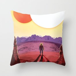 NASA Retro Space Travel Poster #8 Kepler 16b Throw Pillow