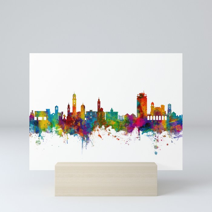 Lugano Switzerland Skyline Mini Art Print