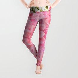 SPRING PINK GARDEN DESIGN GREY ART PATTERNS Leggings