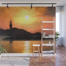 Lighthouse Sunset Impressionism Wall Mural