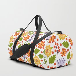 Sunshine yellow lavender orange abstract floral illustration Duffle Bag
