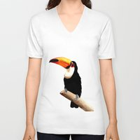 toucan V-neck T-shirts featuring Toucan by Bridget Davidson