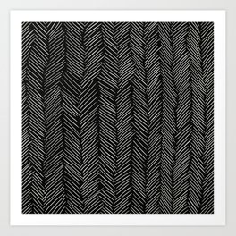 Herringbone Cream on Black Art Print