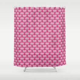 Art Deco Lily, Fuchsia Pink and Silver Gray Shower Curtain