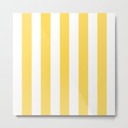 Mustard yellow - solid color - white vertical lines pattern Metal Print