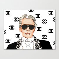 karl lagerfeld Canvas Prints featuring I Love Lagerfeld by ROCKGLITTER