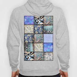 Faux Patchwork Quilting - Blues Hoody