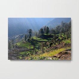 Himalayan Stepped Fields, Nepal Metal Print