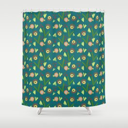 Modern Organic Floral Pattern // Hand-drawn Illustration Shower Curtain