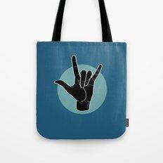 ILY - I Love You - Sign Language - Black on Green Blue 07 Tote Bag