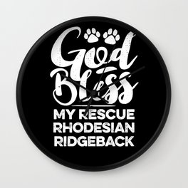God Bless My Rescue Rhodesian Ridgeback Paw Print for Dog Walker Gift Wall Clock
