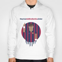 neymar Hoodies featuring Neymar Barcelona Illustration Print by Gary  Ralphs Illustrations