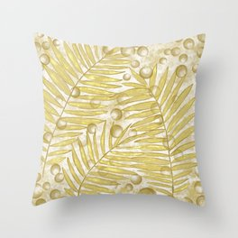 Golden Tropical Leaves Abstract Throw Pillow
