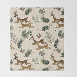 winter deer // repeat pattern Throw Blanket