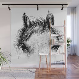 Horse animal head eyes ink drawing illustration. Mammal face portrait Wall Mural