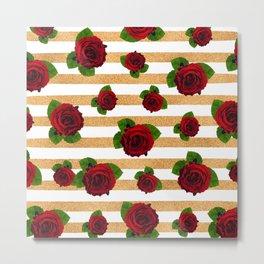 Rose Neck Gator Stripes Roses Metal Print