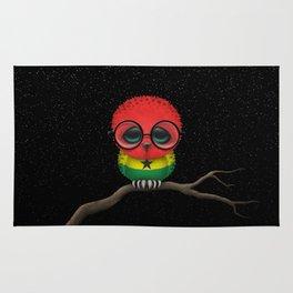 Baby Owl with Glasses and Ghana Flag Rug