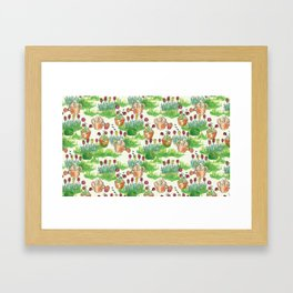 garden watercolor pattern Framed Art Print