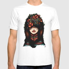 The girl who was thinking about geometry & red flowers Mens Fitted Tee White MEDIUM
