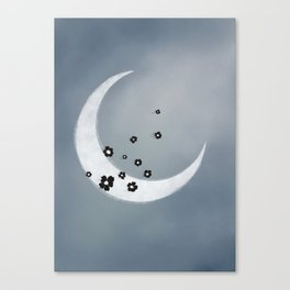 White Moon and Black Flowers Canvas Print